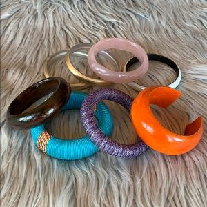 Lot of 8 assorted bangle bracelets wooden plastic